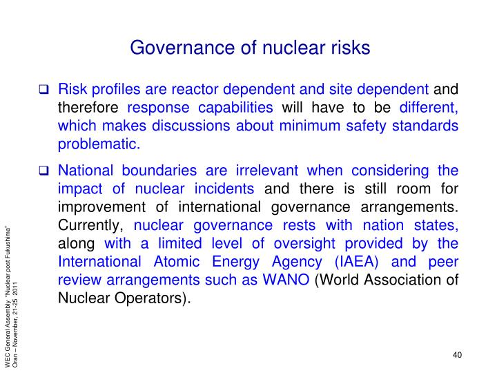 Governance of nuclear risks