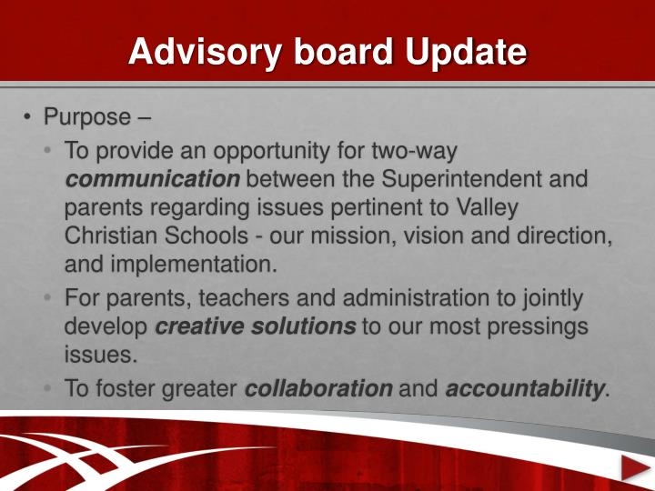 Advisory board Update