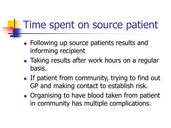 Time spent on source patient