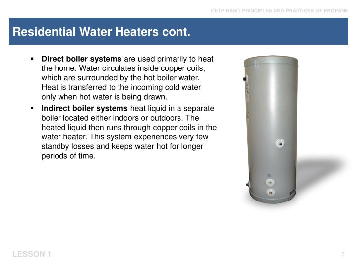 Residential Water Heaters cont.