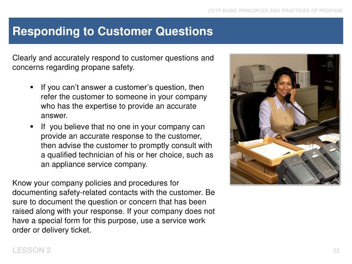 Responding to Customer Questions
