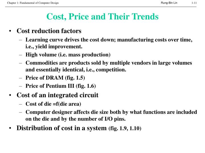 Cost, Price and Their Trends