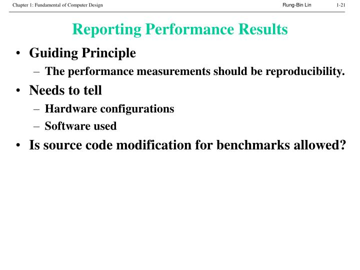 Reporting Performance Results