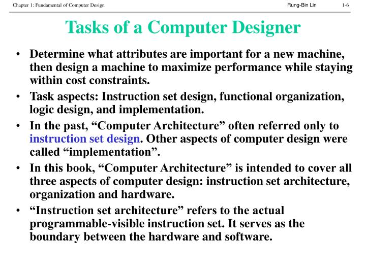 Tasks of a Computer Designer