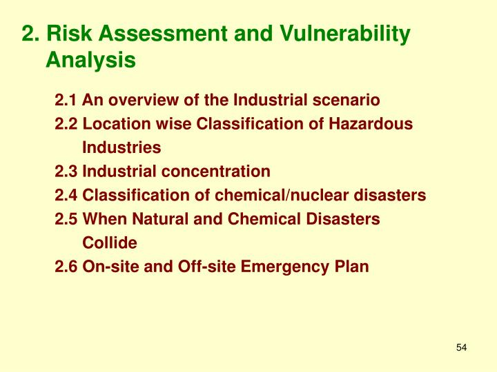 2. Risk Assessment and Vulnerability