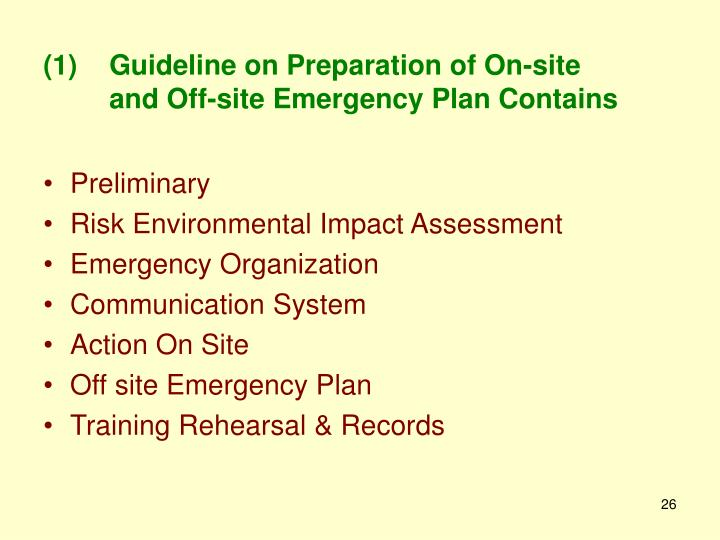 Guideline on Preparation of On-site