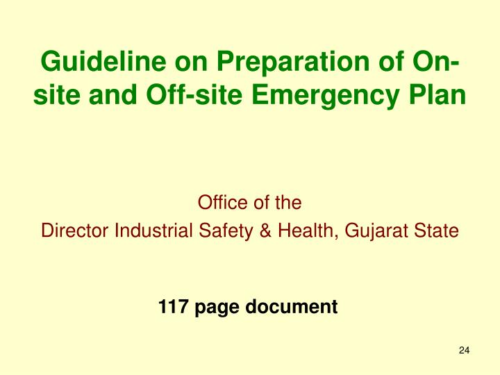 Guideline on Preparation of On-site and Off-site Emergency Plan