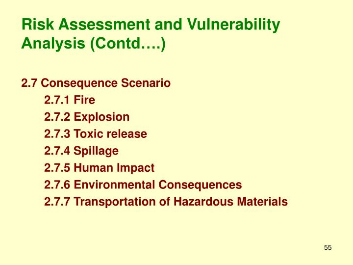 Risk Assessment and Vulnerability Analysis (Contd….)