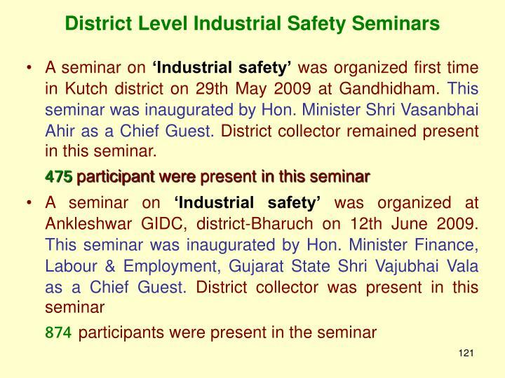 District Level Industrial Safety Seminars