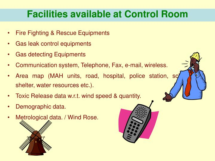 Facilities available at Control Room