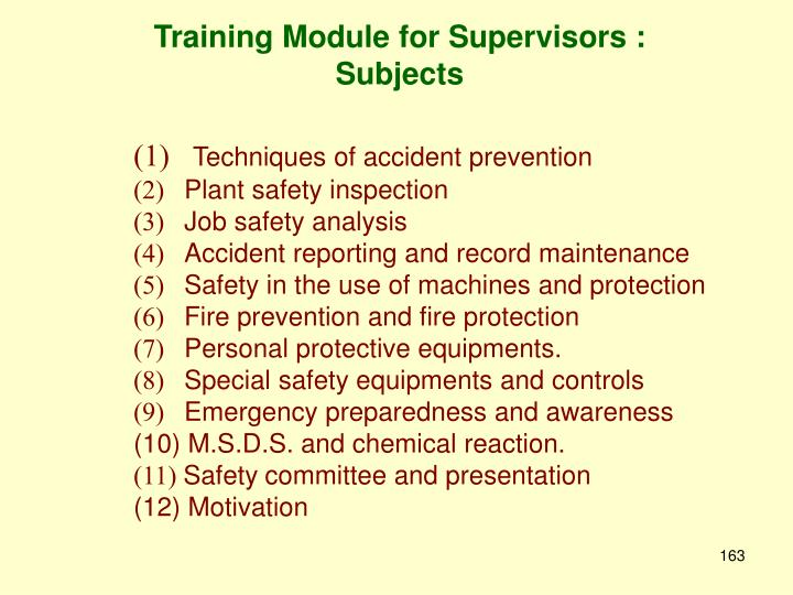Training Module for Supervisors :            Subjects