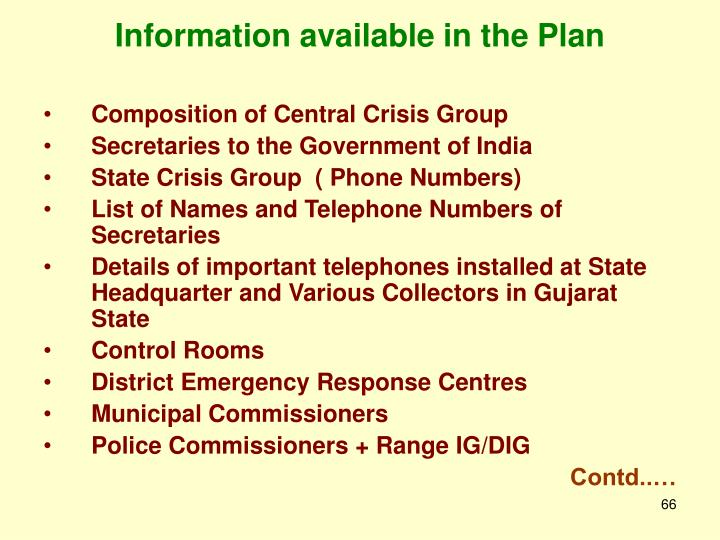 Information available in the Plan
