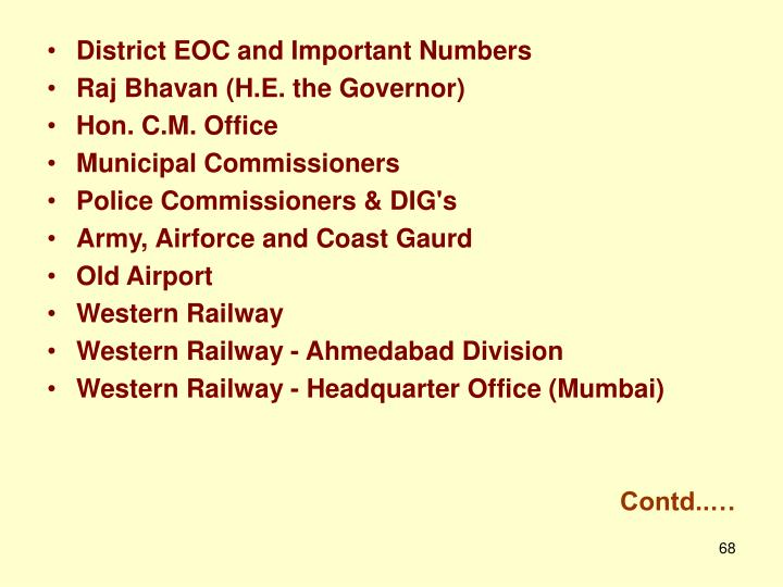 District EOC and Important Numbers