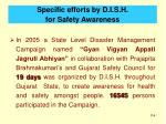 specific efforts by d i s h for safety awareness