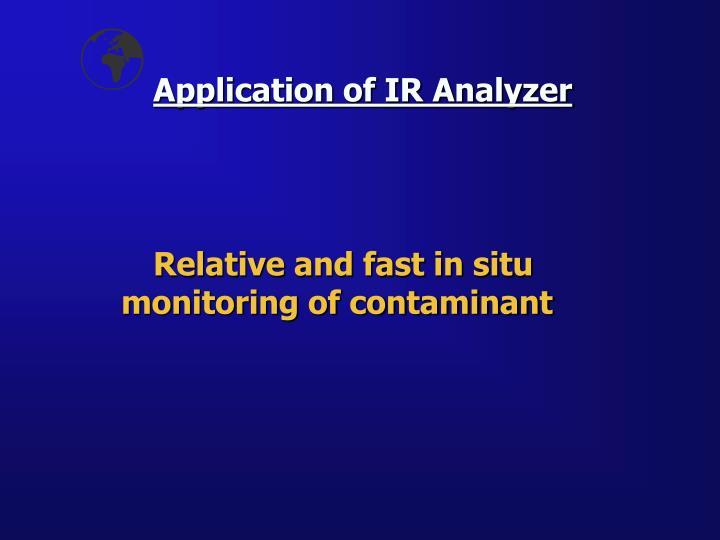 Application of IR Analyzer