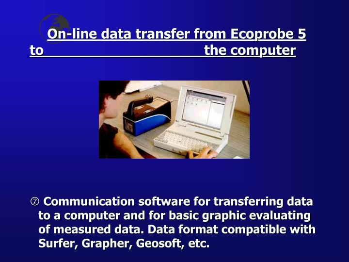 On-line data transfer from Ecoprobe 5 to 					the computer