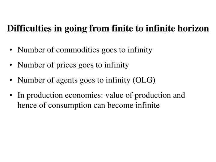 Difficulties in going from finite to infinite horizon
