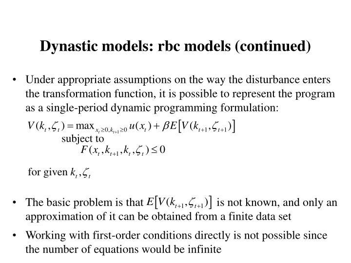 Dynastic models: rbc models (continued)