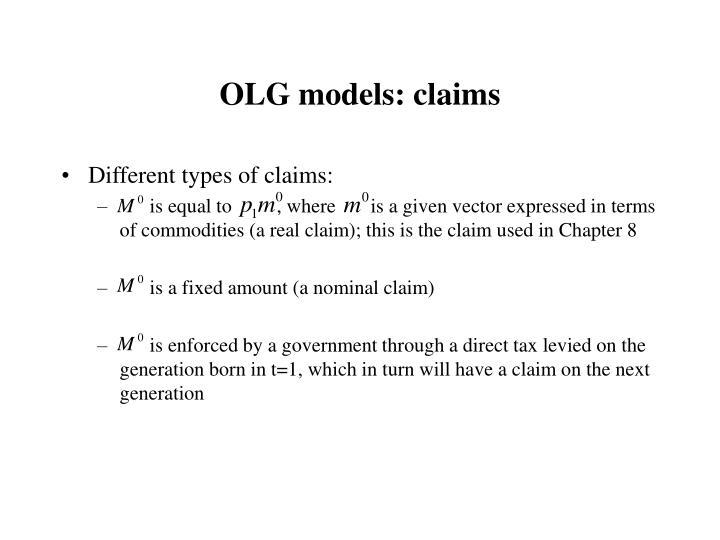 OLG models: claims