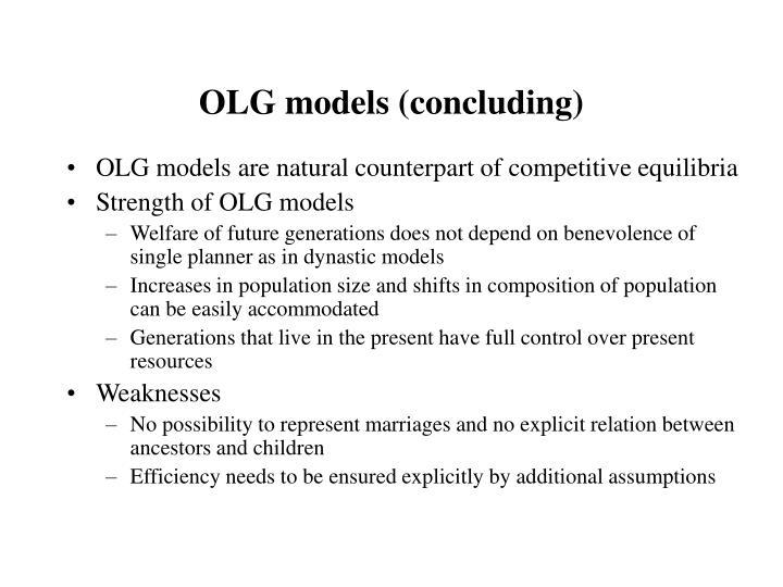 OLG models (concluding)