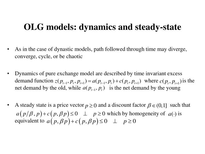 OLG models: dynamics and steady-state