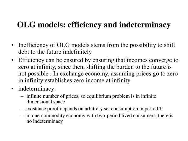 OLG models: efficiency and indeterminacy