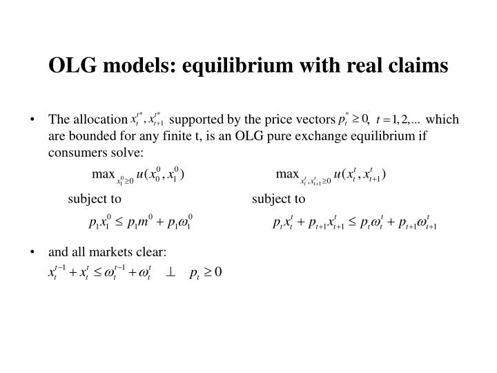 OLG models: equilibrium with real claims