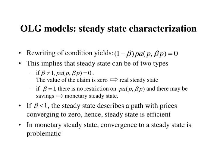 OLG models: steady state characterization