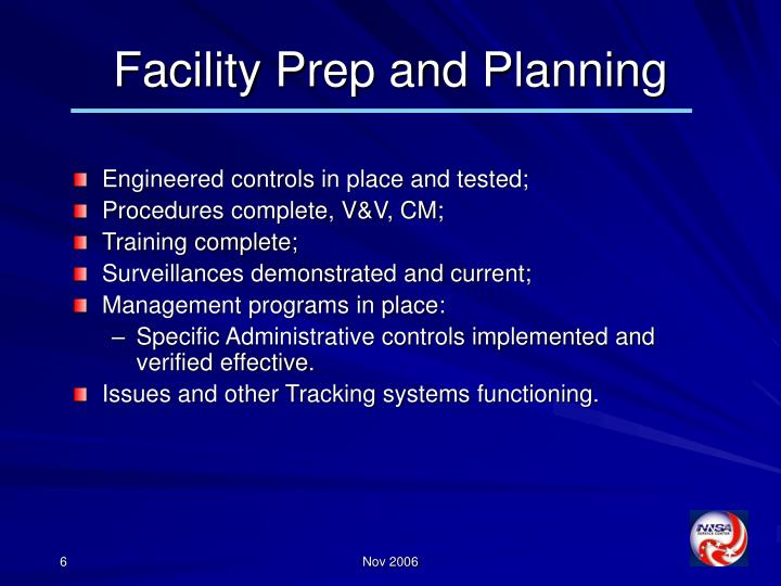Facility Prep and Planning