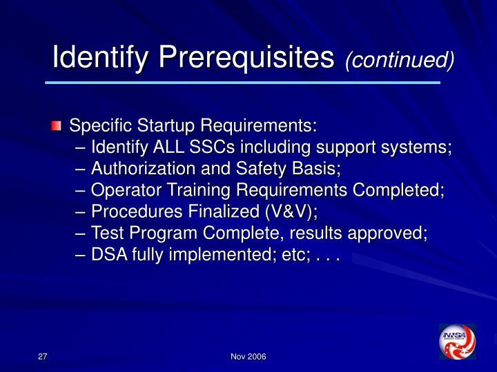 Identify Prerequisites