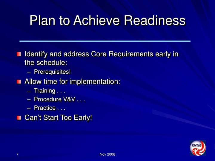 Plan to Achieve Readiness
