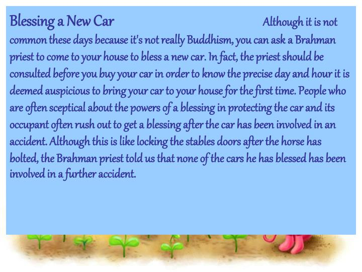 Blessing a New Car