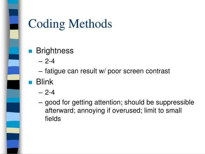 Coding Methods