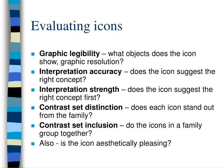 Evaluating icons