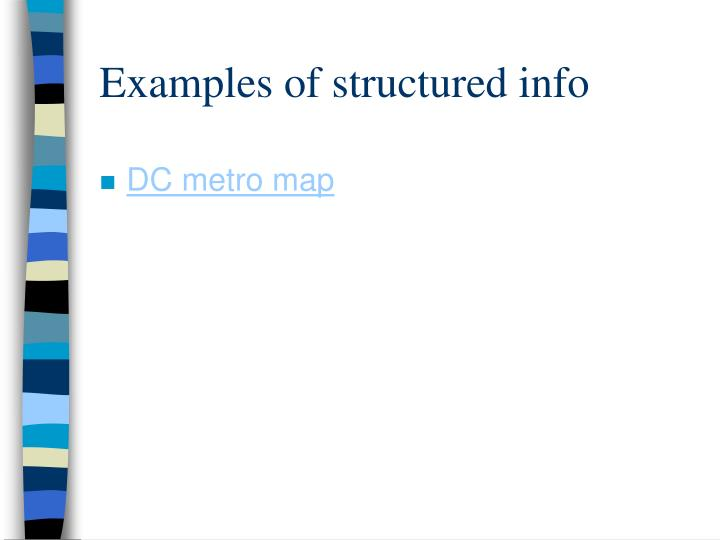 Examples of structured info