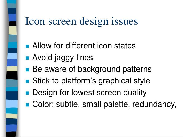 Icon screen design issues