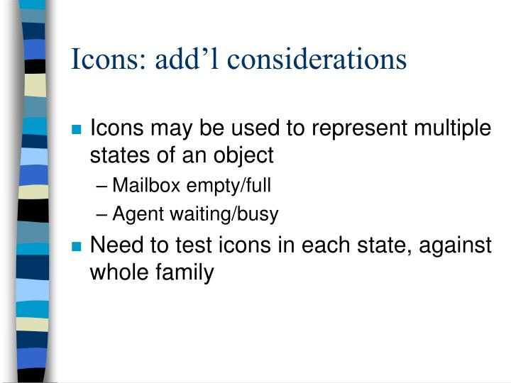 Icons: add'l considerations