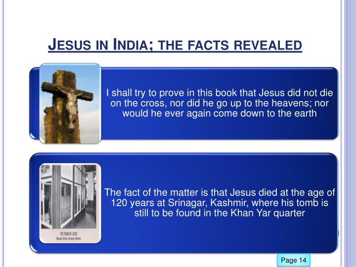 Jesus in India; the facts revealed