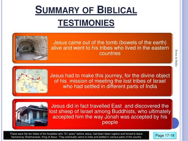 Summary of Biblical testimonies