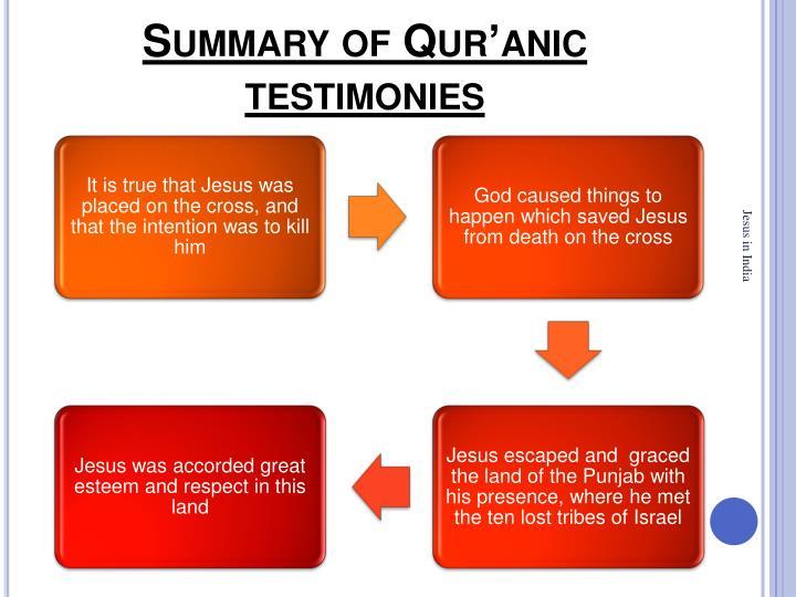 Summary of Qur'anic testimonies