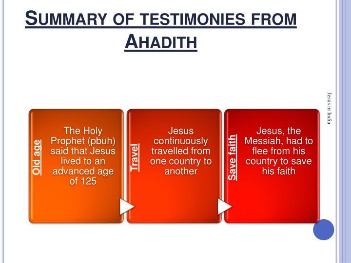 Summary of testimonies from Ahadith
