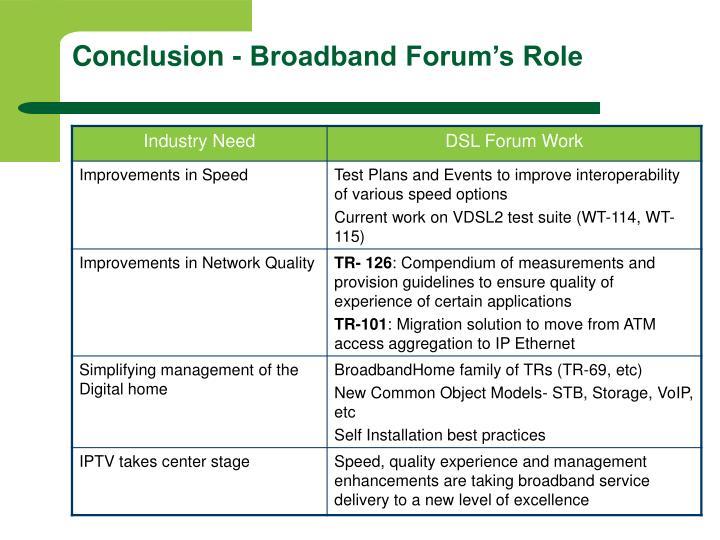 Conclusion - Broadband Forum's Role
