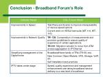 conclusion broadband forum s role