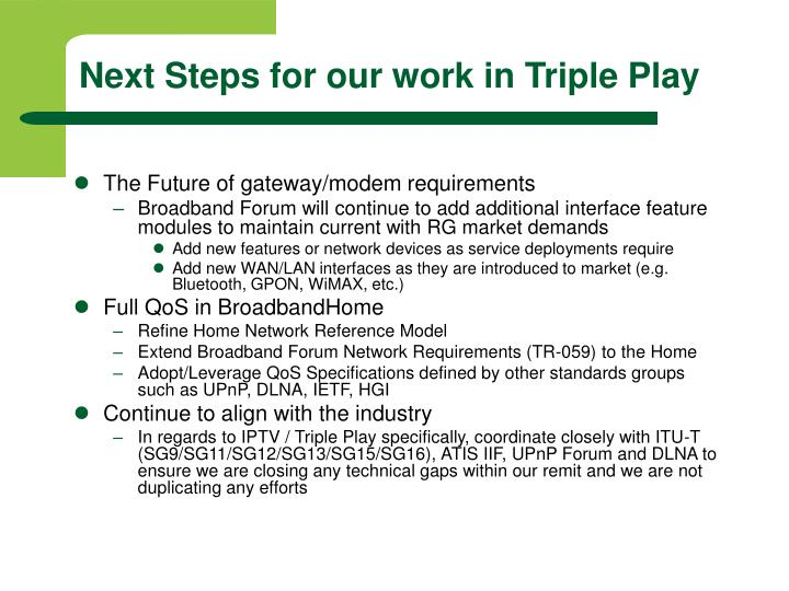 Next Steps for our work in Triple Play