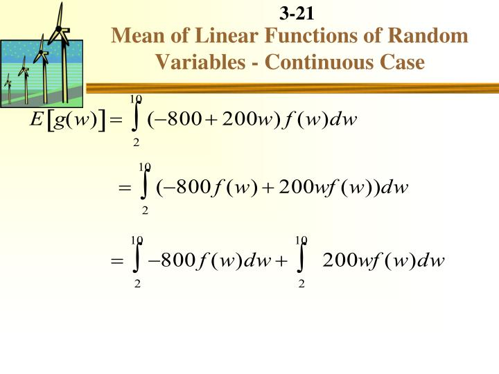 Mean of Linear Functions of Random Variables - Continuous Case
