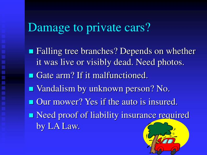 Damage to private cars?