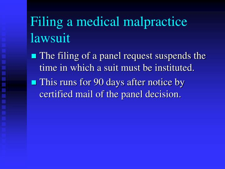 Filing a medical malpractice lawsuit