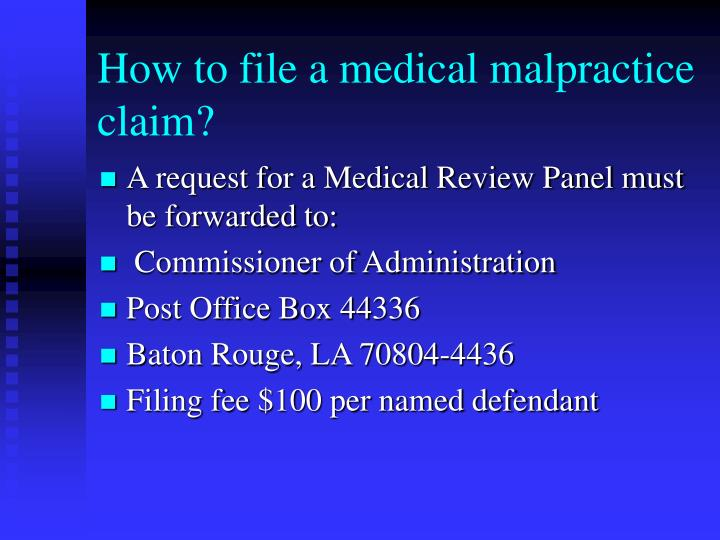 How to file a medical malpractice claim?