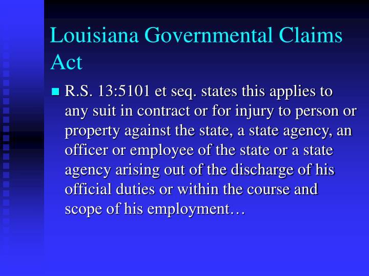Louisiana Governmental Claims Act