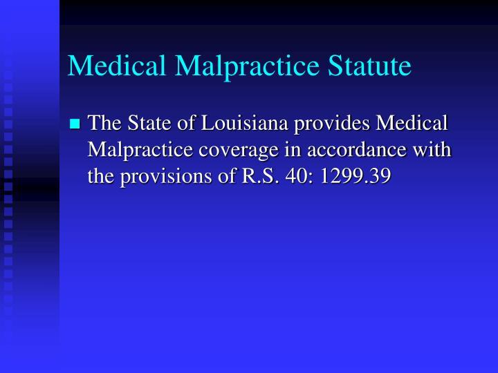 Medical Malpractice Statute